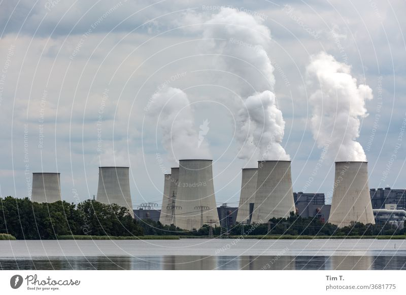 coal-fired power station Coal power station Cooling towers Energy industry Exterior shot Colour photo Deserted Industry Environmental pollution Day