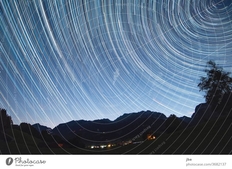 Long time exposure incl. Comet Neowise Long exposure Milky way Milky Way Polar star North Star Night conceit Evening Rotate Circular Stars stars silouhette