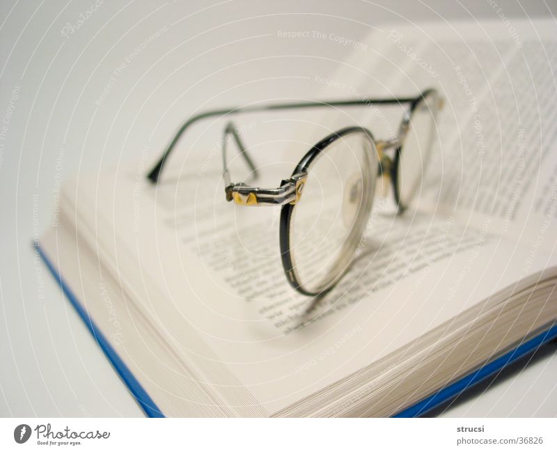 Glasses on book Study Book Library Reading Eyeglasses To enjoy Literature Things Book. read Side Lens Page Blue-white Meditative Leisure and hobbies browse
