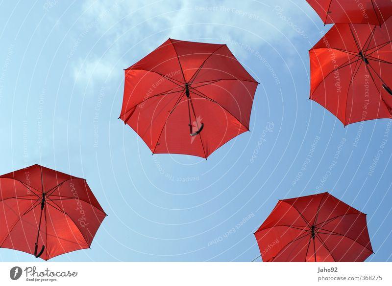 red umbrella Lifestyle Elegant Style Leisure and hobbies Playing Balloon Drop Umbrella Joie de vivre (Vitality) Ease Tourism Rainwater Rainbow Sky blue
