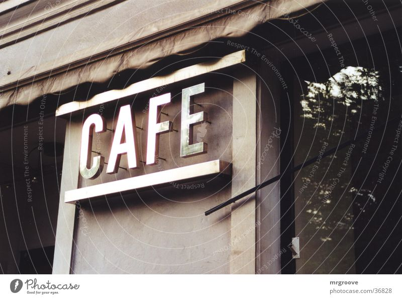 cafe Café Inscription Vacation & Travel Architecture Characters Metal Signs and labeling