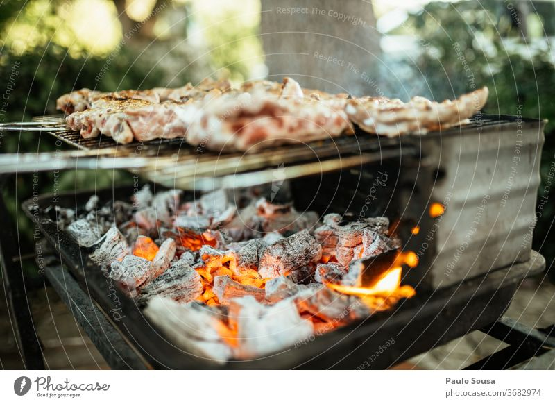 Grilling meat on the barbecue Barbecue (apparatus) Barbecue (event) grilled meat Meat Nutrition Colour photo Exterior shot BBQ season Charcoal (cooking) Summer
