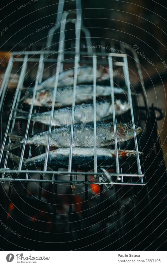 Grilling sardines Sardine Fish grilled grilling BBQ Barbecue (apparatus) Barbecue (event) Barbed wire Lisbon Exterior shot BBQ season Delicious Hot Day Food