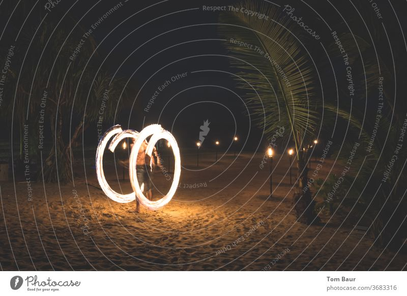 pinwheel Thailand Beach Ocean Asia Travel photography Krabi Relaxation Paradise Water Vacation & Travel Fire Juggle juggles Fire wheel Circle Burn Night