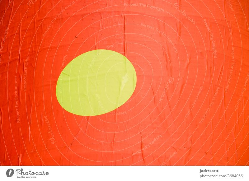 Opposites, circle in a square Circle Yellow Orange Surface Round Structures and shapes Background picture Illustration Minimalistic Surface structure Geometry