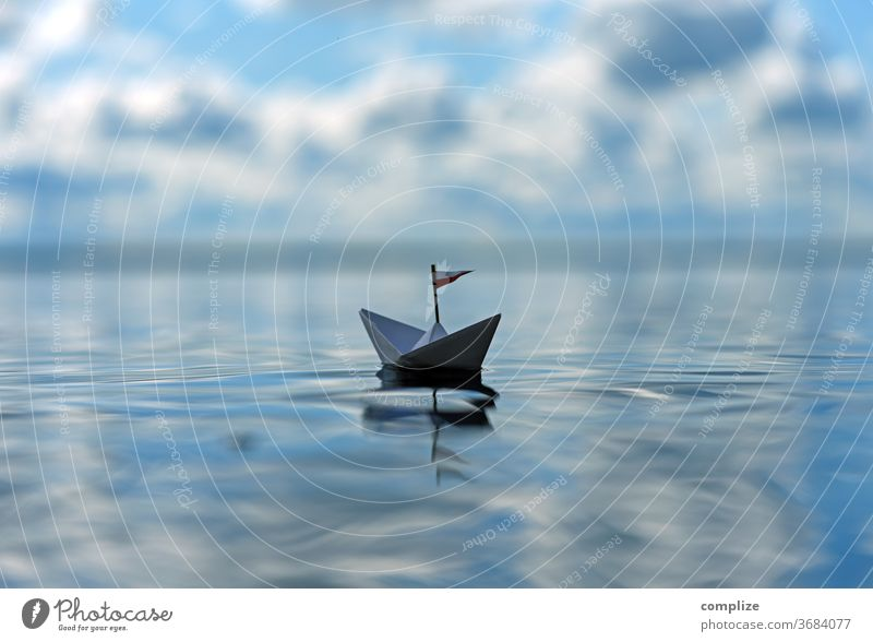 A ship made of paper fortunate Happy carefree lonely Loneliness Silence Leisure and hobbies Lonely segregated rest urge for freedom Free Vacation & Travel
