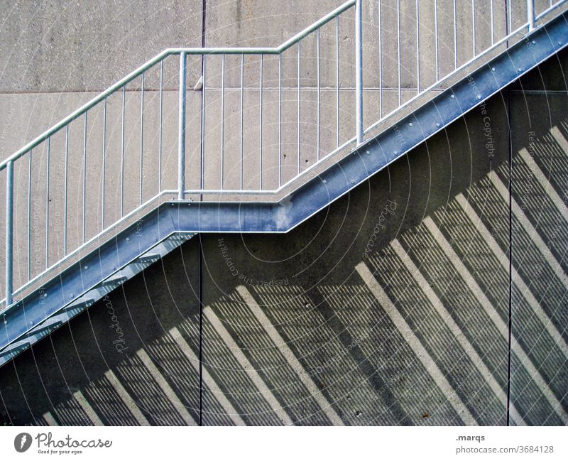 upstairs Stairs Wall (building) Shadow Shadow play Banister Esthetic Facade Contrast Structures and shapes long shadows Upward lines Gray ascent