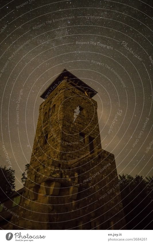 The Teufelsmühle in the Black Forest under a dark starry sky devil's mill Tower Night stars Sky Night sky Starry sky conceit Brick Teufelsmühle Tower