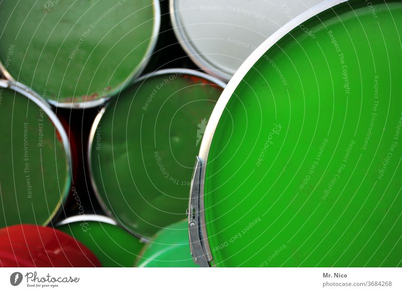 green green green are (almost) all my barrels ton Containers and vessels Round Oil barrel Keg Industry Stack pile White Environmental protection Multicoloured