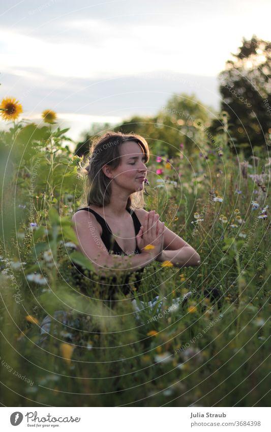 Namstè flower field sunset beautiful meditation Woman Young woman Flower meadow Flower field Sunflower grasses Flowering plant Yoga Meditation relaxed