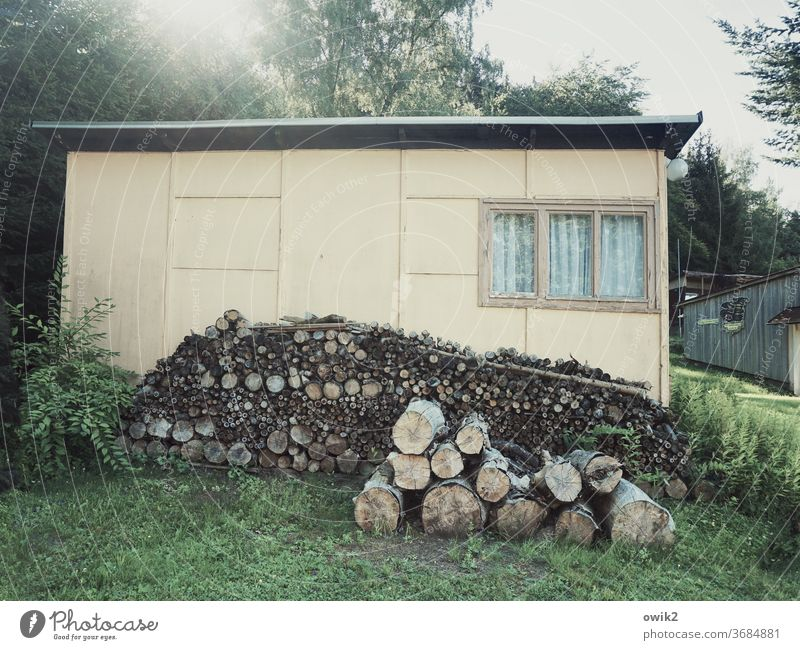 Before the dacha hut built Wall (building) Facade wood Old Sharp-edged Simple Firm Dependability Unwavering Technology Stack Colour photo Subdued colour