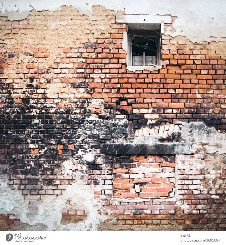 firewall Colour photo Old Exterior shot Wall (barrier) Wall (building) Deserted Brick wall Ravages of time Detail Facade Pattern built Structures and shapes