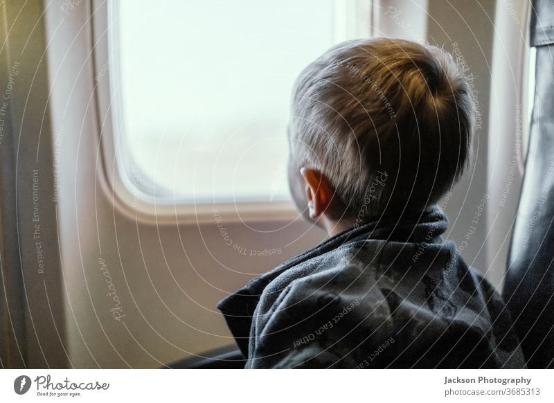 Toddler looking through airplane window boy toddler travel curious small caucasian face view indoor concept cute seat indoors watch trip leisure lifestyle child