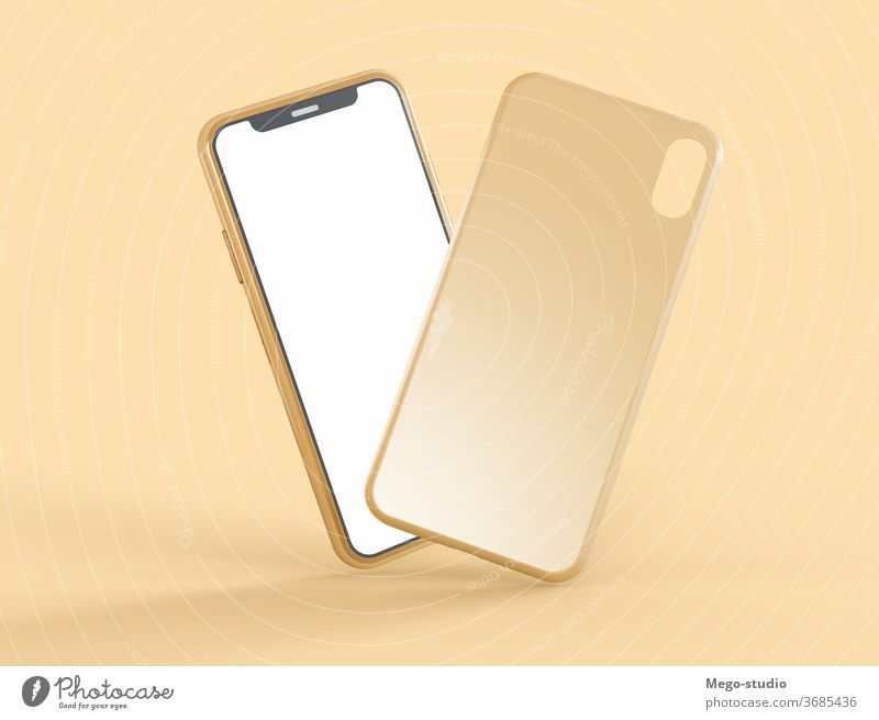3D Illustration. Mockup of smartphone with phone case. 3d illustration mockup accessories mock-up smart phone clear 3d rendering portable style touch