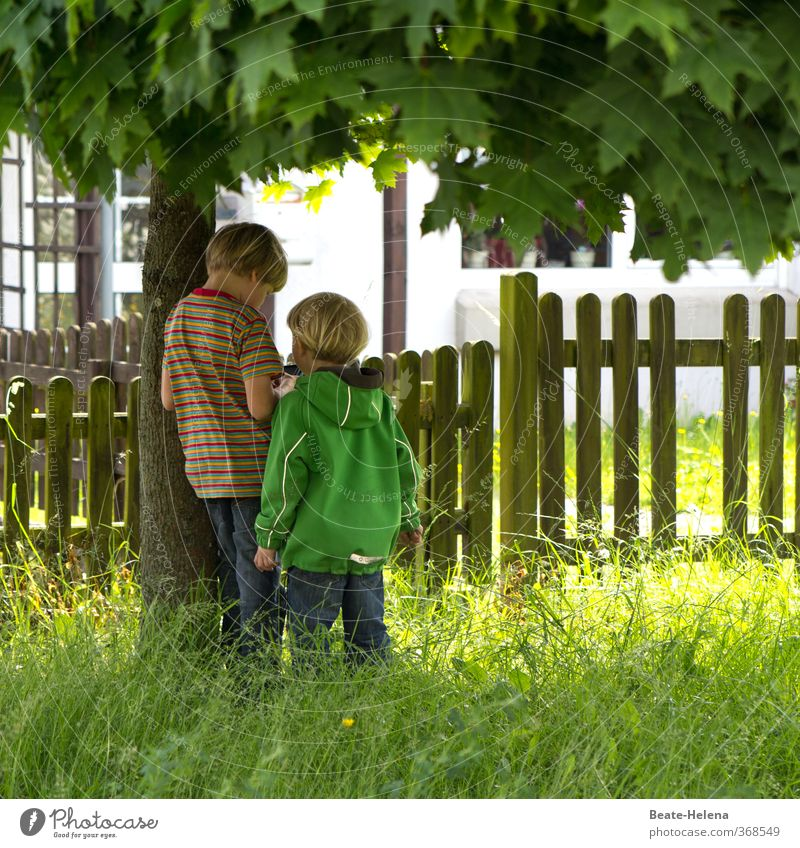 The adventure begins on the doorstep: two little boys make plans with their mobile phones Leisure and hobbies Playing Flat (apartment) Boy (child) Friendship