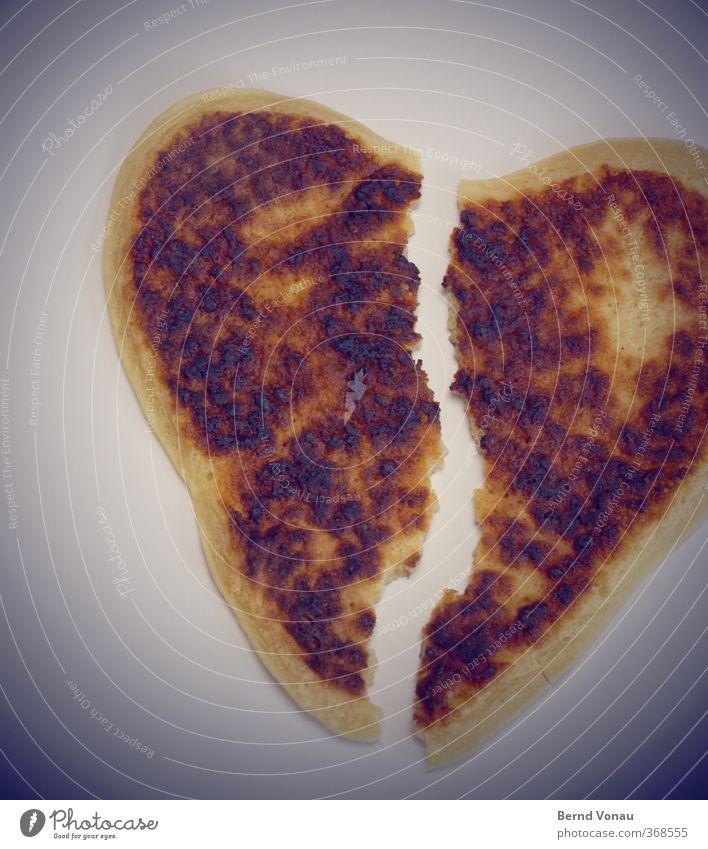 Sweet pancake Pancake Heart Relationship Disappointment Love Argument Distress Brown Black Burnt torn Crack & Rip & Tear Breakage Divide Yellow Dough Broken