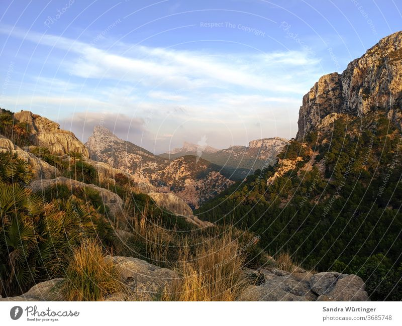 Sunset on Mallorca Majorca mountains Light Summer Summer vacation Landscape no people Vacation & Travel Mountain Sky Nature Deserted Trip Tourism Colour photo