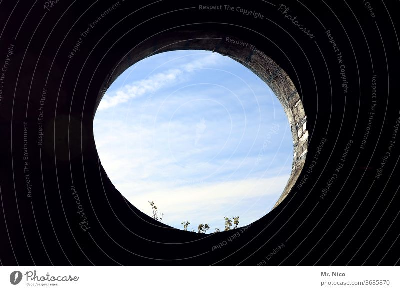 Opposites I round and square Circle Round Structures and shapes Geometry Abstract Two-tone opening Hollow Sky Shadow outlook Blue Rectangle geometric quad