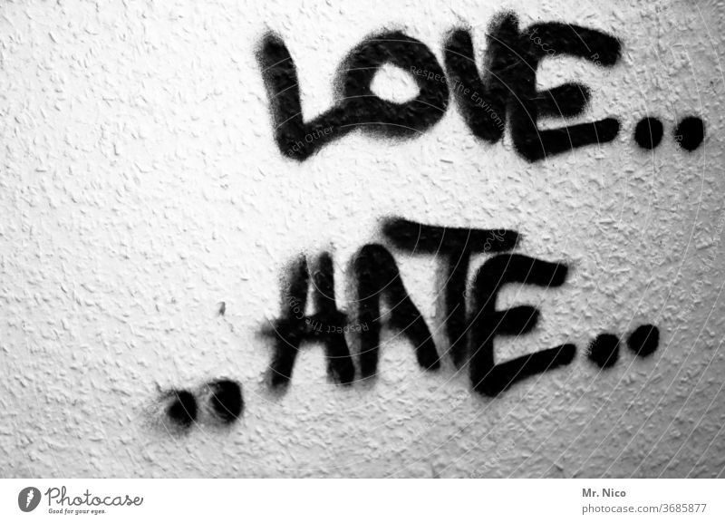 Contrasts I love and hate Love Hatred Emotions furious Aggravation Aggression Graffiti Animosity Characters Opposites contrary to Lovesickness Frustration