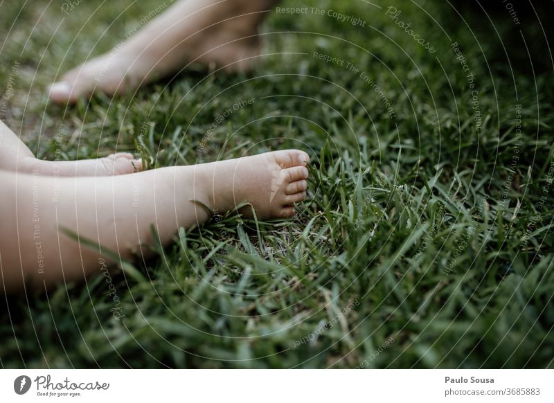 Close up baby feet on the grass Close-up human body part foot Human being Feet Skin Colour photo Body Toes Barefoot Baby 1 Relaxation Summer Adults Beautiful
