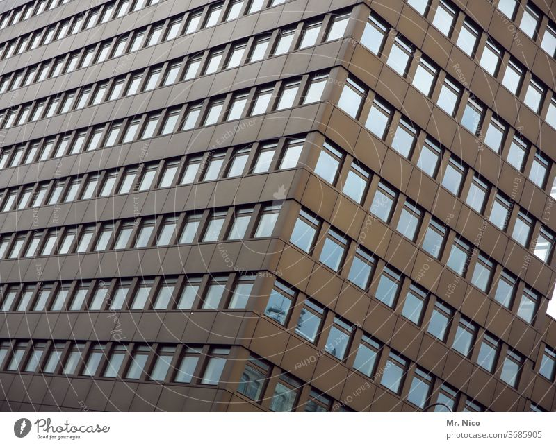 high-rise facade High-rise Architecture Town built Window Facade Tall High-rise facade Prefab construction Manmade structures Office building Perspective