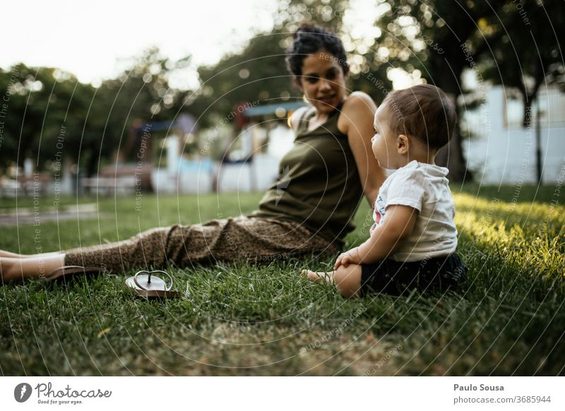 Mother and baby Son in the park Park Summer Summer vacation motherhood Nature Child Woman Happy Together Parents Joy Lifestyle Exterior shot Family & Relations