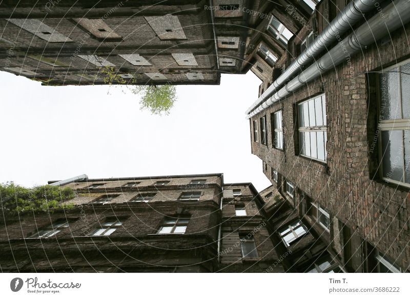 Backyard Berlin Upward Prenzlauer Berg Old building Sky Deserted Town Downtown Capital city Old town Day House (Residential Structure) Exterior shot Window