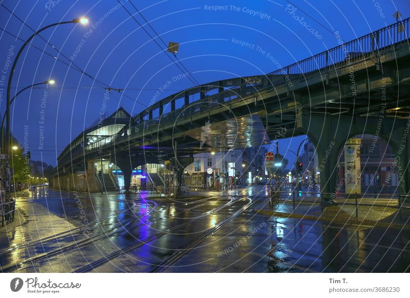 Schönhauser corner Berlin Night Train station Wet Rain blue hour Eberswalder Street Prenzlauer Berg Exterior shot Town Capital city Downtown schonhauser avenue