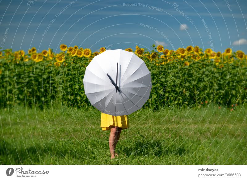 Woman stretches out a white umbrella with a clock face Clock Numbers Clock face Digits and numbers Time Alarm clock White Clock hand Summer Exterior shot