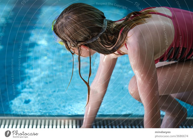 Girls in the swimming pool Summer vacation girl Swimming pool be afloat Wet Water Sports Adventure Playing Romp Swimming & Bathing Dive Blue Joy