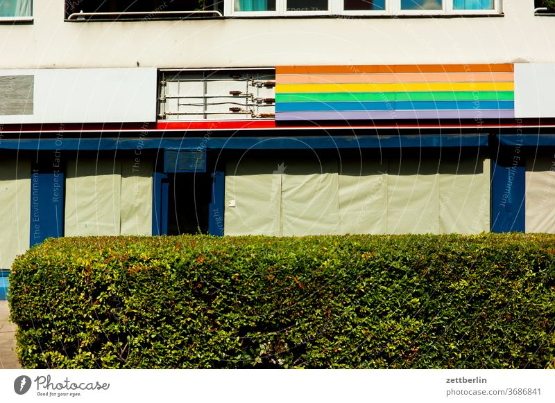 Outdoor advertising in rainbow colours Architecture Berlin office city Germany Capital city House (Residential Structure) downtown Deserted Middle Modern