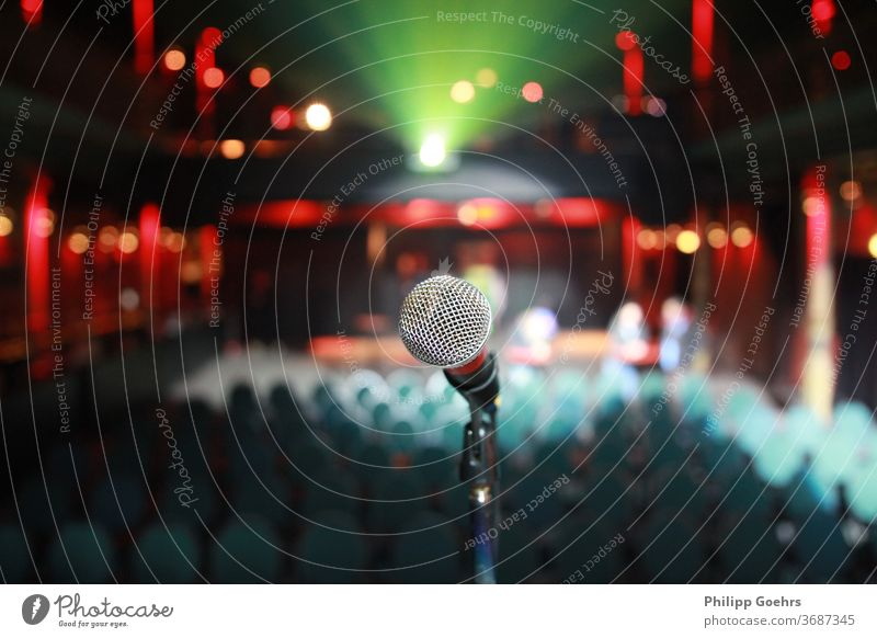 Microphone in Empty club microphone empty stage beamer lights focus depth of field corona culture seats seating audience no people