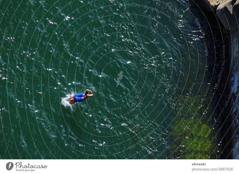 dives Swimming & Bathing Jump Colour photo Water River Refreshment Summer Joy Man Inject Dive Headfirst dive Wet Exterior shot Human being ardor