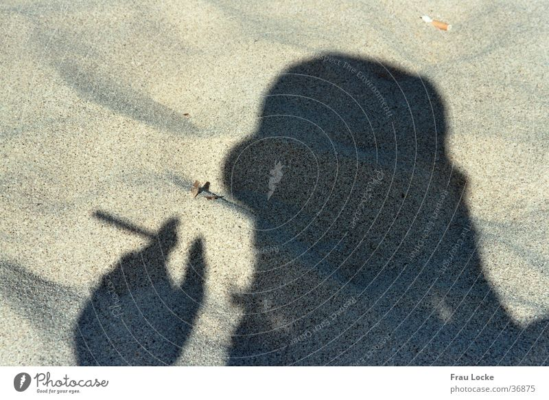 smoking shadow Steam Smoke Beach Vacation & Travel Relaxation Ocean Cigarette Smoking Human being Shadow Sand Sun