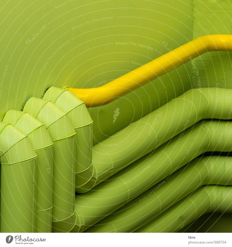 supply House (Residential Structure) Building Yellow Green Pipe Iron-pipe Wall (building) Corner Outlet air Colour photo Deserted Copy Space top