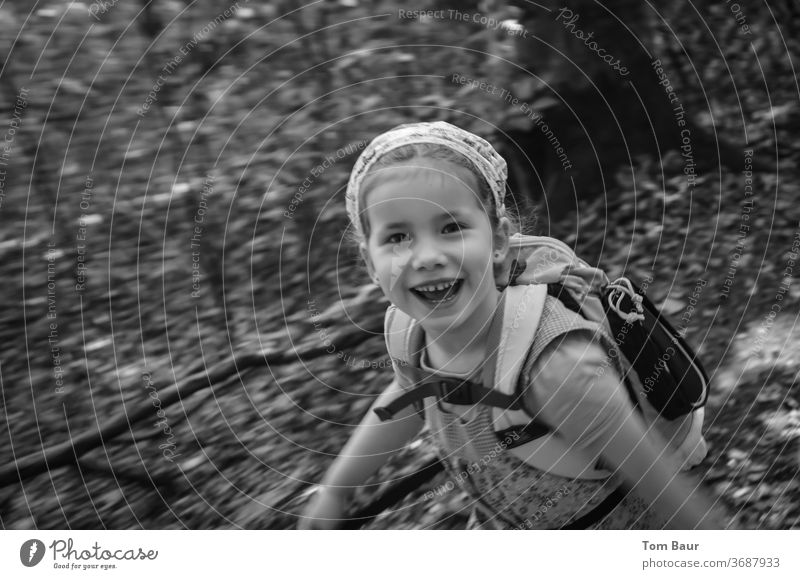 Girls hiking girl Hiking pool Backpack Headscarf Black White Black & white photo Face Nature Hair and hairstyles Looking Eyes portrait Child Infancy