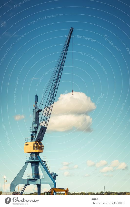 Cloud Service - Data transmission Crane Sky Clouds Harbour Industry Blue Steel Metal Weight Work and employment Heavy Construction site Tall Lift Logistics