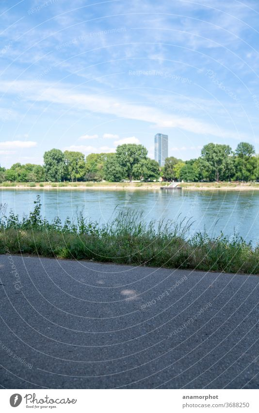 View to Mannheim, Rhine promenade Sky High-rise Water Clouds Deserted Exterior shot Town River River bank Colour photo Copy Space top Copy Space bottom Day