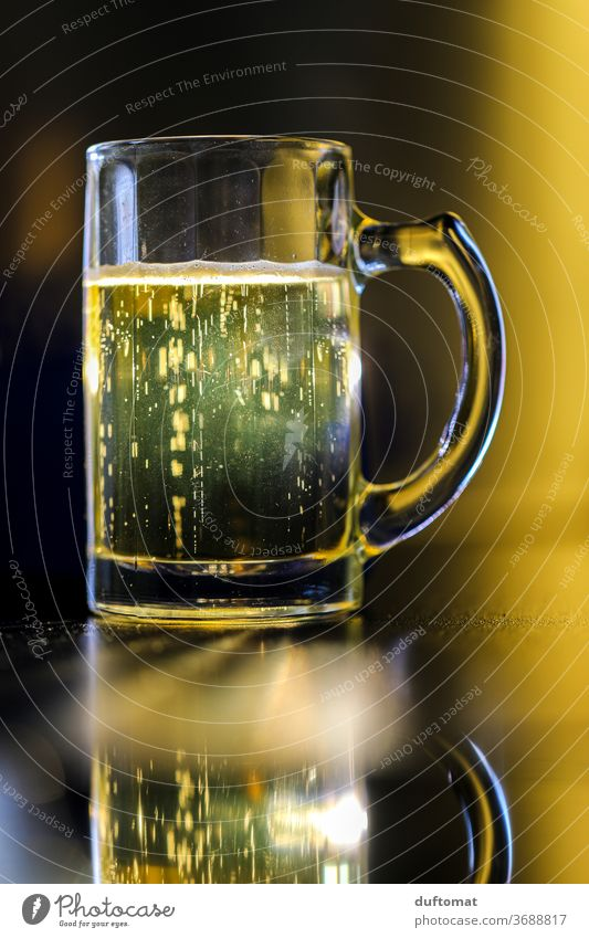 Mug of beer Beer Water jug Cheers Beverage Glass Drinking Alcoholic drinks Cold drink Beer mug Feasts & Celebrations Thirst Alcoholism Shallow depth of field