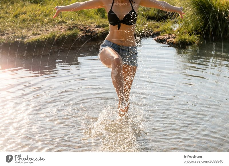 Cooling down in water on a hot summer day foot Legs Water cooling Barefoot Summer feet Toes Relaxation Woman Exterior shot Swimming & Bathing Vacation & Travel