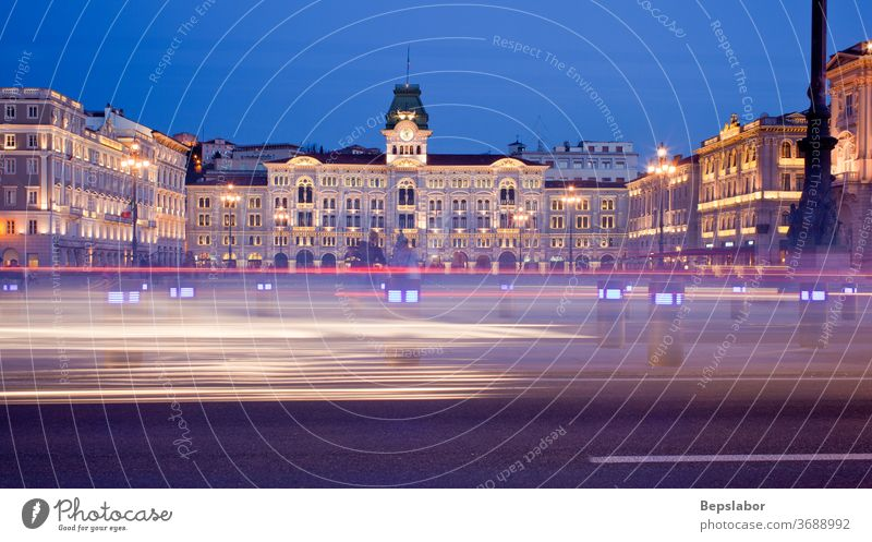 View of the Piazza unità d'Italia, at sunset in Trieste  - Italy square units Italian scenic skyline architecture lights lit palace building historical