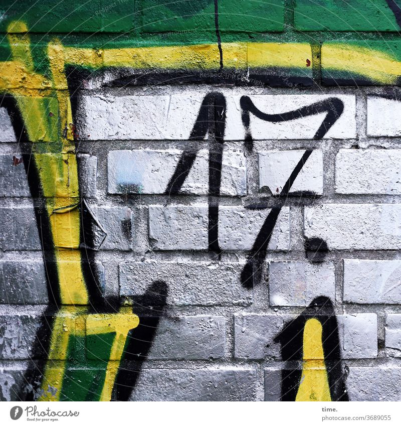 to whom it may concern today .)) Deserted Inspiration variegated Wall (building) Wall (barrier) Brick graffiti Manmade structures Seam Old creatively 17