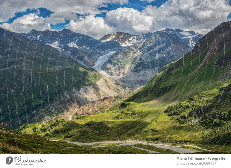 Kaunertal Glacier, Tyrol, Austria Glacier road mountains Peak valleys rock Rock meadows huts Landscape Nature Sky Clouds Sun sunshine Street Winding road