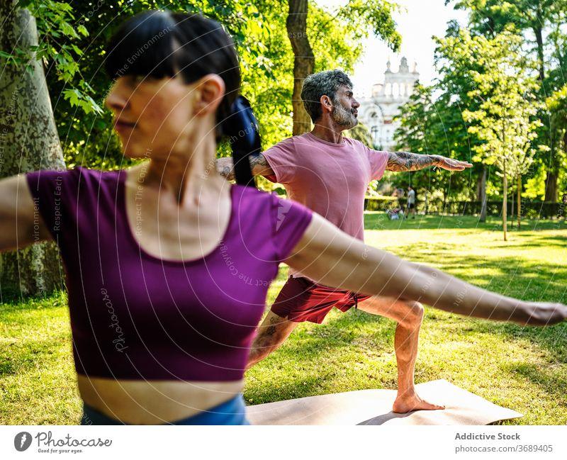 Calm couple practicing yoga in Warrior pose together warrior pose park barefoot sunny virabhadrasana training relationship tranquil healthy serene wellness