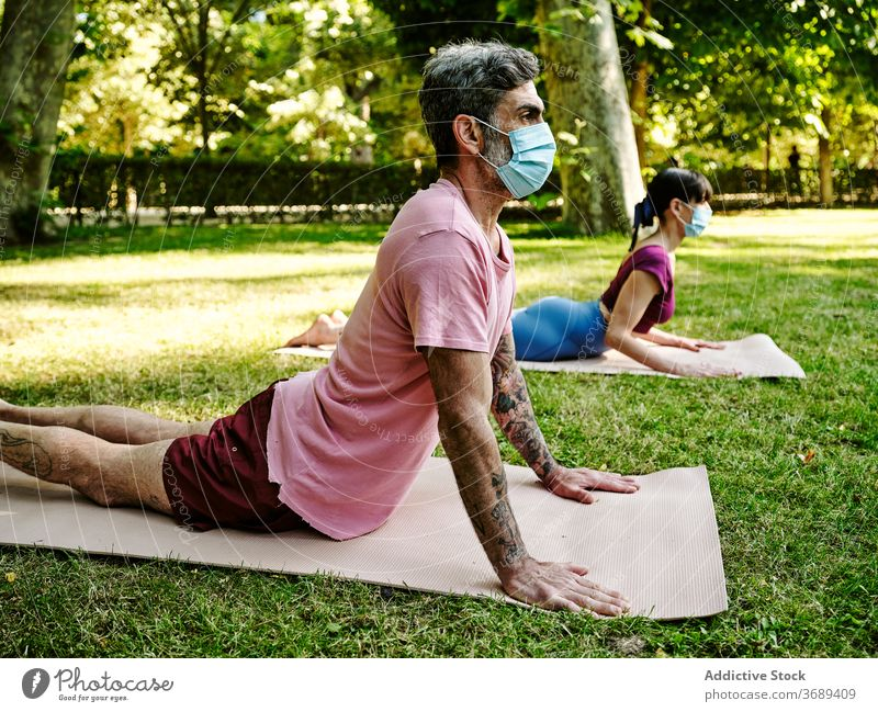 Couple doing yoga in Cobra pose in park couple cobra pose mask coronavirus together tranquil flexible relax relationship green harmony outbreak summer wellness