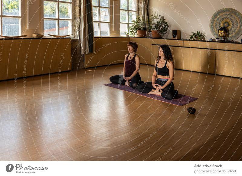 Women meditating together in studio meditate yoga lotus pose women mindfulness practice padmasana incense aroma stick tranquil harmony wellness calm relax zen