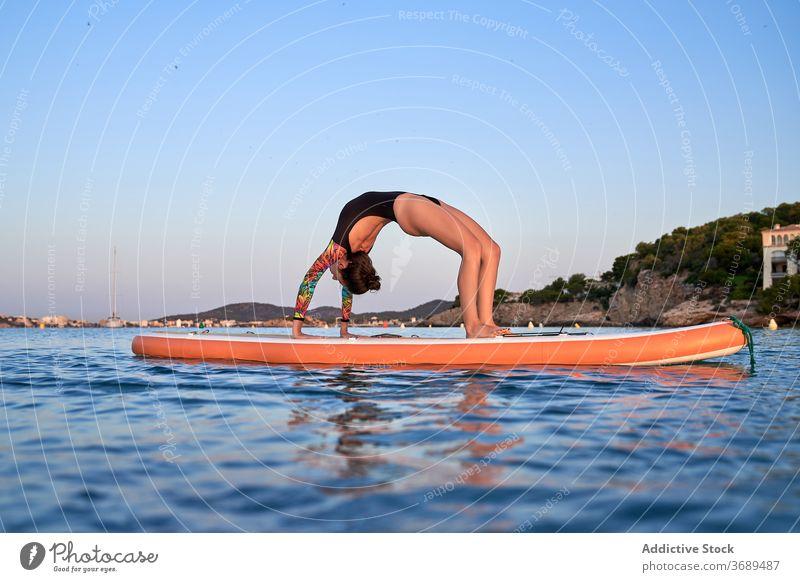 Flexible female surfer doing yoga in Wheel pose wheel pose practice woman asana flexible paddleboard sea harmony swimsuit evening twilight sundown relax water