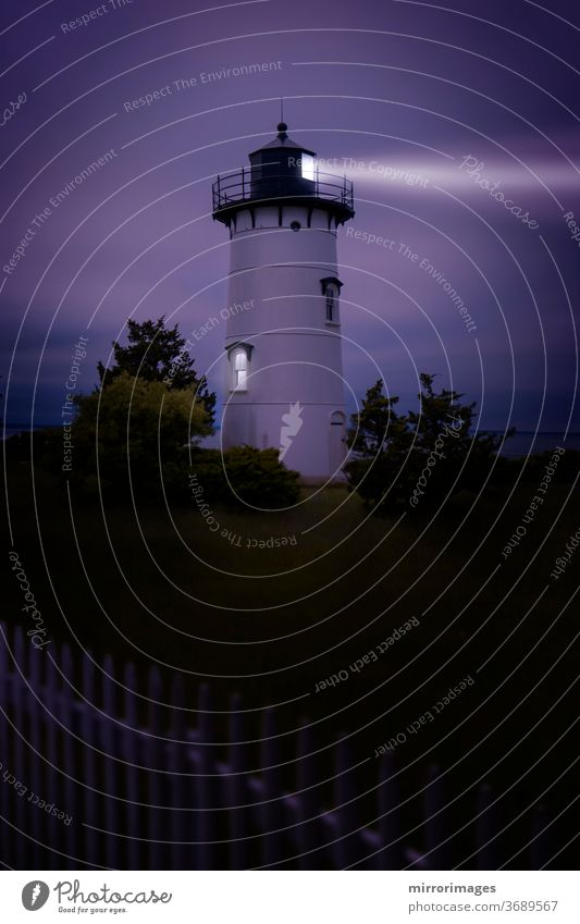 Lighthouse Martha's Vineyard Sound and Nantucket Sound The East Chop white and black Oak Bluffs, white picket fence