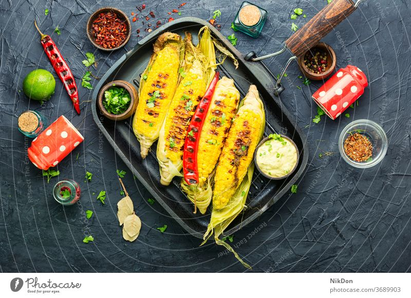 Grilled sweet corn cob grilled maize corncob barbecue vegetable bbq grilled corn grilled vegetables vegetarian kernel roasted yellow snack delicious summer