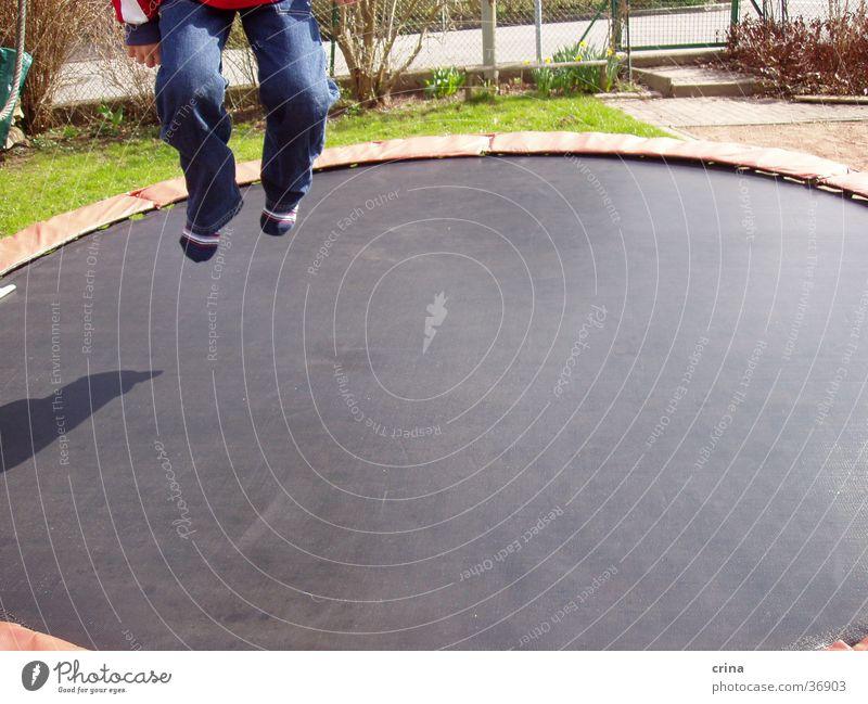 Man Jump Feet Legs Jeans Hop Trampoline Sports